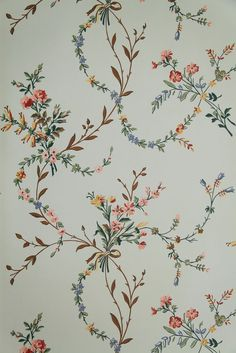 """Vintage Wallpaper - """"New England Floral"""" by Waterhouse Wallhangings"""