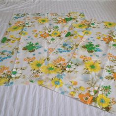"""vtg 34"""" x 46"""" mid century pink pretty floral sheer cafe curtains"""