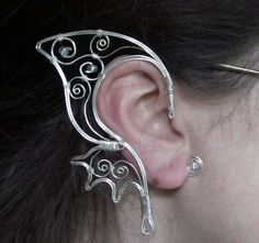 ButterFae Earcuffs (in Sterling Silver Wire) from FantasyEarcuffs on Etsy. Ear Jewelry, Jewelry Crafts, Jewelry Art, Beaded Jewelry, Handmade Jewelry, Jewelry Design, Jewelry Making, Unique Jewelry, Jewellery