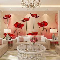 Custom 3D Photo Wallpaper Modern Pastoral Plant Flower Wall Mural Painting Art Living Room Sofa TV Background Wallpaper Murals #Affiliate