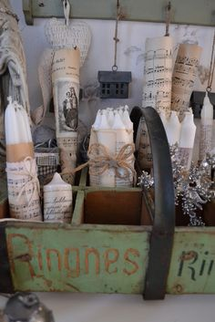 ❊ ℐoyeux Noel ❊ Collects of old sheet music and wrap around white candles. Embellish with decorative ribbons and create a lovely festive still life.