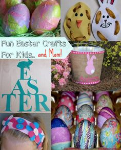Easter Crafts for Kids.  Find ideas for decorating eggs, making baskets, and Easter activities to keep them from being bored. #Easter #Crafts