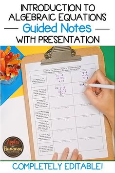Algebraic Equations - guided notes with answer keys and presentation. Editable. Also includes foldable activities and checks for understanding. Perfect for meeting the needs of Algebra 1 students. Algebra Equations, Algebra 1, Algebra Lessons, Math Notebooks, High School Students, Life Skills, Lesson Plans, Teacher Pay Teachers, Presentation
