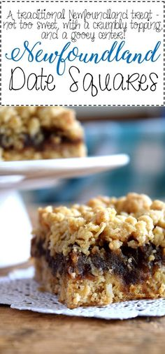 Jump to Recipe Print RecipeNewfoundland Date Squares are a traditional Newfoundland treat! Slightly sweet, with a crumbly topping, and a soft, chewy center, perfect for an afternoon snack with a cup of hot tea! Date Squares and Newfoundland go hand… Date Recipes Desserts, Köstliche Desserts, Baking Recipes, Cookie Recipes, Delicious Desserts, Recipes With Dates, Desserts With Dates, Newfoundland Recipes, Canadian Food