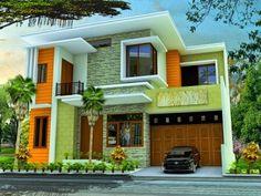 fachadas de casas bonitas de dos plantas simples