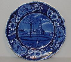 """HISTORICAL BLUE STAFFORDSHIRE PLATE. """"Winter View"""