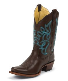 Look at this Nocona Boots Chocolate Bliss & Aqua Square-Toe Leather Cowboy Boot on #zulily today!