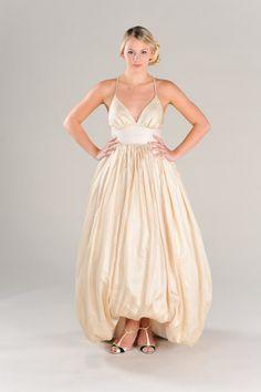 A line bubble Wedding Dress, with plunging neckline cross straps, peace silk wedding dress Eco Friendly green wedding Custom Made