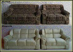 """""""Que o nome do Senhor seja louvado e agora e para sempre!"""" Salmos 113.2  Jogo de sofá reformado no tecido suede amassado."""