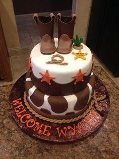 Baby Shower, Baby Boy Cake. Fondant Cowboy Boots.