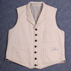 Scarti-Lab Selvedge Canvas Vest 408-SM981 White