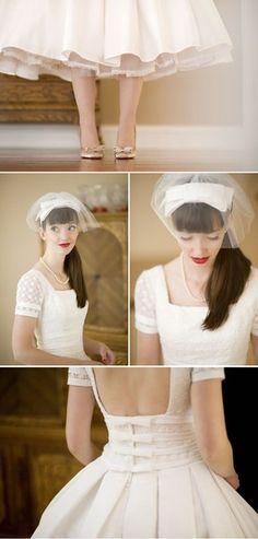 Short and Tea Length Wedding Dresses : retro wedding dress Pin Up Vintage, Vintage Veils, Vintage Bridal, Vintage Dresses, Vintage Style, Retro Style, Vintage Weddings, Cowboy Weddings, Themed Weddings