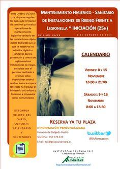 Legionella - Nivel Inicial - 25h  Fecha de inicio: 8 Noviembre 2013 Límite de inscripción hasta el 18  Octubre
