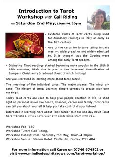 Intro to Tarot Workshop on 2nd May