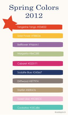 Great new Pantone colors for Spring 2012  from @addapinch   Robyn Stone