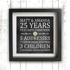 Printable Parent's Gift - Wedding Anniversary - Custom Anniversary Gift - Gift for Spouse - Personalized Gift - Family Sign - Family Name Golden Anniversary, 25th Wedding Anniversary, Anniversary Parties, Anniversary Ideas, Anniversary Chalkboard, Anniversary Surprise, Established Family Signs, Anniversary Gifts For Parents, Parent Gifts