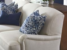 Essex Sofa by Bassett Furniture. Features a sectioned tight back with low arms to give a more casual feel.
