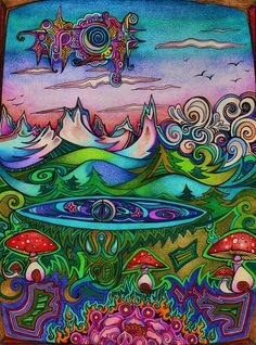 Mountain sky high by lauraborealisis on deviantart tattoo ideas. Psychadelic Art, Psychedelic Drawings, Trippy Painting, Stoner Art, Psy Art, Mushroom Art, Hippie Art, Art Drawings, Pencil Drawings