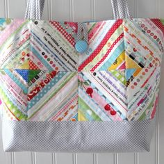 Colorful Quilted Bag with Double Diamond Theme