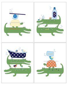 Alligator Art, Bath Art For Kids, Turtle Art, Kids Bathroom, Wash, Brush,  Wall Bath Decor, Soap, Toothbrush, 8x10 Art Prints