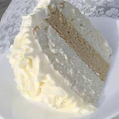 White Almond Wedding Cake Recipe -  I'm going to try this recipe to make cupcakes for my friend's wedding shower:)  Sounds yummy!