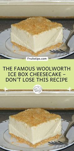 The Famous Woolworth Ice Box Cheesecake – Don't LOSE this recipe Lemon Cheesecake Recipes, Cheesecake Desserts, Cheesecake Bites, Homemade Desserts, Easy Desserts, Dessert Recipes, Icebox Desserts, Icebox Cake, Fresh Strawberry Pie