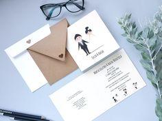 Minimalistyczne - minimalistyczne zaproszenie ślubne ręcznie robione | Fajnakartka.pl
