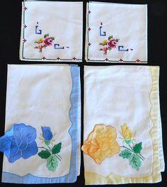 Lot Vintage Linen Napkins Rose Floral Embroidered Applique