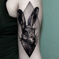Rabbit tattoo by Ilja Hummel.