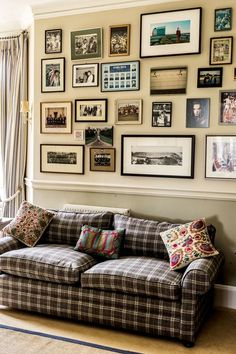 Discover ideas for displaying art on HOUSE - design, food and travel by House & Garden. In the home of Olympian Sebastian Coe a wall of the living room is covered in framed memorabilia.
