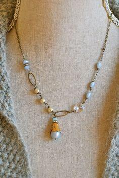 Phoebe. romantic,pearl,crystal,pendant drop necklace. Tiedupmemories