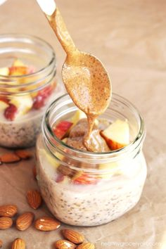 Apple Almond Butter Overnight Oats by Healthy Grocery Girl…