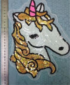 Patch unicorn sequins embroidered iron on patches for clothes wedding dress clothing DIY patchwork fabric free shipping