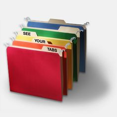 Find It - Letter-Size Tab View Hanging File Folders Assorted - Find It - FT07034