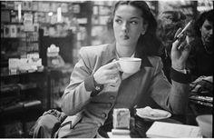 Rosemary Williams drinking coffee, New York, 1949, by Stanley Kubrick.
