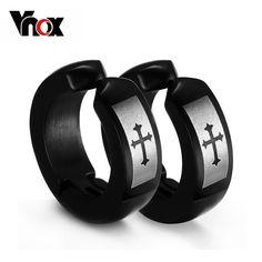 Men Small Hoop Huggie Earrings Black Stainless Steel Fleur De Lis Christian Cross Ear Studs Rock Punk Jewelry