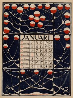 1896 Dutch Nieuwe Kunst (or, Art Nouveau) calendar by Theodoor Willem Nieuwenhuis. January Calendar, Calendar Pages, Art Nouveau, Illustrations, Illustration Art, Kalender Design, Going Dutch, Vintage Calendar, Months In A Year