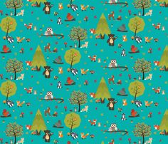 Woodland Creatures fabric by koolchicken on Spoonflower - custom fabric