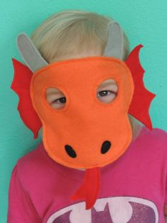 Dragon Felt Animal Mask - perfect for pretend play for children on Etsy, $9.00