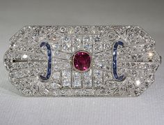 Vintage Art Deco Diamond, Ruby and Sapphire French Plaque Brooch, Pendant, Pin on Etsy, $16,800.00