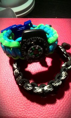 My 8 year old always loves DIY projects. Her latest creation: cobra stitch parachute cord bracelets with compass. A starter kit is available for $8 at Michael's Arts and Crafts.