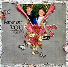 "#papercraft #scrapbook #layout Gray Distressed Scrapping Page...with a ""peek-a-boo"" picture...flowers & butterflies."