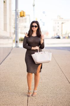 what to wear for a night out, cold shoulder fitted dress, slit dress, bodycon dress, calvin klein heels  Bailylamb.com