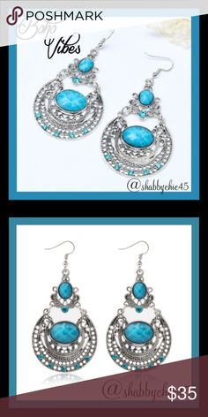 """Boho Vibes Aqua Stone Dangle Earrings A true ocean blue stone combination of cool aqua and warm chrome silver metal. These versatile earrings are a celebration of lucious aquatic color. The stones are complemented by chrome-plated sterling silver that's been given a slightly brushed texture to add another layer of interest.   1.57"""" width by 3.1"""" length. Antique silver plated  Smoke free home. Open to reasonable offers unless marked as firm. Happy Poshing. Boutique Jewelry Earrings"""