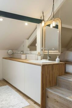 Bathroom lighting ideas for small or large master and guest bathroom. Choose from this article to put together the best bathroom lighting scheme. Attic Bathroom, Laundry In Bathroom, Small Bathroom, Natural Bathroom, Bad Inspiration, Bathroom Inspiration, Nature Inspired Bedroom, Ikea Mirror, Mirror Bedroom