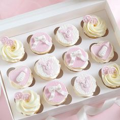 Full set of pretty pink baby shower cupcakes with buttons, bows, bunny onesies & milk bottles 🐰🌸👼🏼🎀🍼✨ love how these turned out 🙊 Baby Shower Cupcakes Neutral, Gateau Baby Shower, Baby Shower Cupcakes For Girls, Baby Cupcake, Cupcakes For Boys, Baby Shower Cupcake Toppers, Girl Baby Shower Decorations, Pink Cupcakes, Birthday Cupcakes