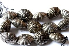 Silver Tone Hollow Beads, Floral Corragated Beads, Tribal Style Metal Beads…