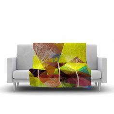 "Pia Schneider ""P17"" Yellow Blue Fleece Throw Blanket - KESS InHouse  - 1  #blankets #art  #decorideas  #giftidea #geometric #trees #yellow #blue #maroon #decoration #livingroomdecor"