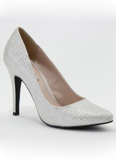 Sizzle Stella – Silver Glitter Pointy Toe Pump Prom Shoes Online
