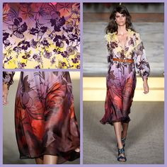 Matthew Williamson SS15 Hibiscus Chiffon Ruffle Trim Dress